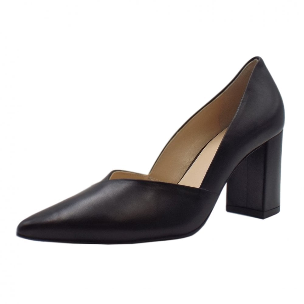 Ladies Classic Court Shoes Black Leather